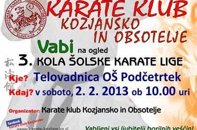 VABILO NA OGLED 3. KOLA ŠOLSKE KARATE LIGE-2.2.2013, Podčetrtek