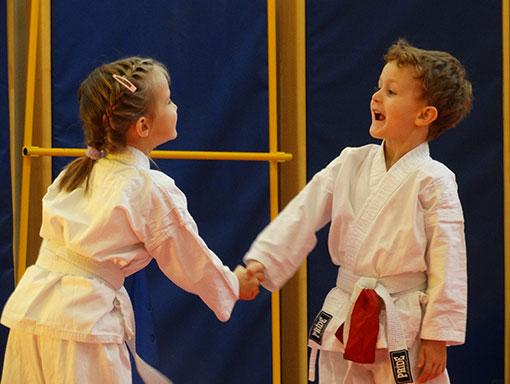Spoznavanje novih prijateljev - karate vrtec